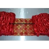 Обшивка гроба из красного атласа, верх из парчи