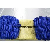 Обшивка гроба из синего атласа верх из парчи
