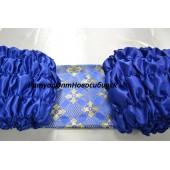 Обшивка гроба из синего атласа верх из парчи с накатом