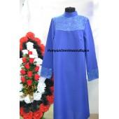 Платье с гипюром синее